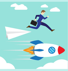 businessman jumping to rocket vector image