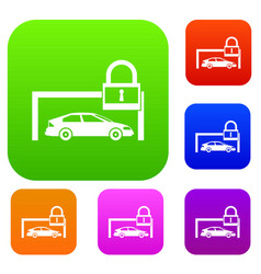 car and padlock set collection vector image