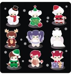Cartoon Christmas characters vector