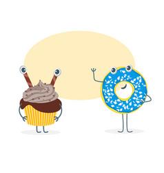 Cartoon funny bakery characters vector