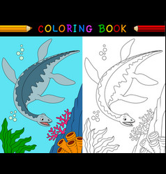 cartoon plesiosaurus coloring book vector image