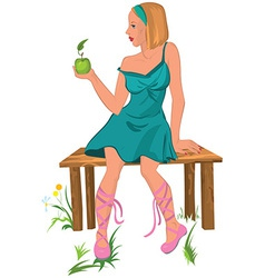Cartoon young woman sitting on the bench with vector image