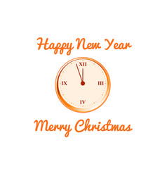 Christmas card with the clock in orange vector