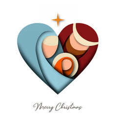 christmas paper cut card jesus and holy family vector image
