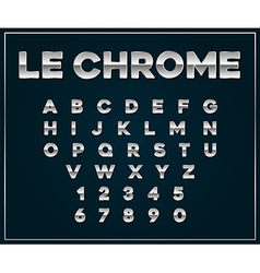 Chrome Silver Metallic Font Set Letters Numbers in vector