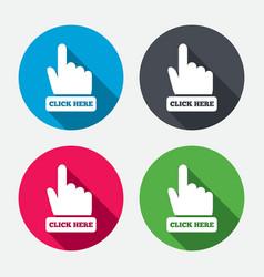 Click here hand sign icon Press button vector