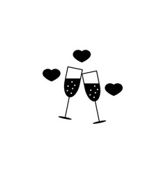 clinking champagne glasses with hearts sloid icon vector image
