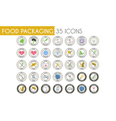 colorful food packaging icons set vector image