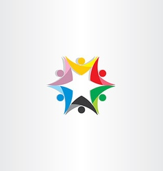 Colorful people teamwork star icon vector