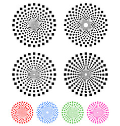 concentric compositions of squares colored and vector image