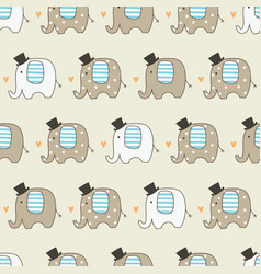 cute elephants seamless pattern vector image