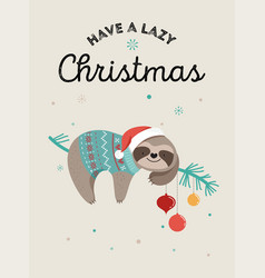 Cute sloths funny christmas with vector