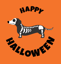 Dachshund in skeleton coustume halloween vector