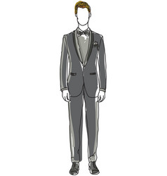 Drawn man in black suit vector