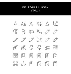 Editorial outline icon set vol1 vector