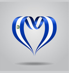 El salvador flag heart-shaped ribbon vector