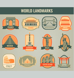 famous world landmarks travel and tourism concept vector image