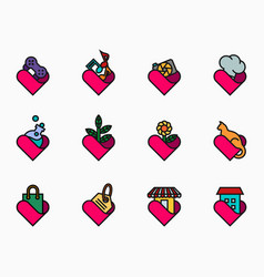 filled outline lover icon set vector image