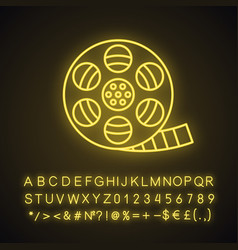 Filmstrip roll neon light icon vector