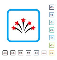 Fireworks burst framed icon vector