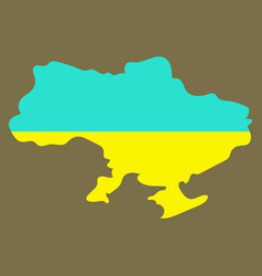 Flag map of ukraine vector