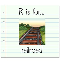 Flashcard letter R is for railroad vector image