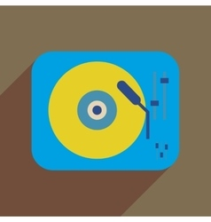 Flat web icon with long shadow retro turntable vector