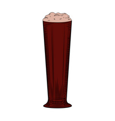 Full beer glass stout with foam engraving style vector