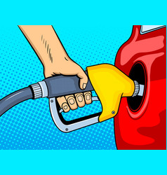 Gasoline filling comic book style vector