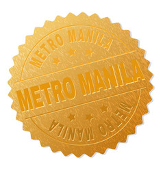 Golden metro manila medal stamp vector