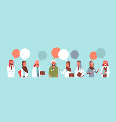 Group of arabic doctors team colorful chat bubble vector