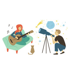 guitarist woman astronomy hobby pastime vector image