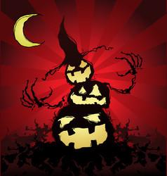Halloween pumpkin scarecrow cartoon character vector
