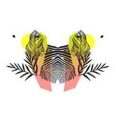 Hand made abstract tropical exotic mirror vector