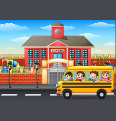Happy children going to school with school bus vector