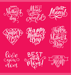 Happy mother day lettering greeting card design vector