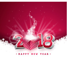 happy new year 2018 with gift vector image