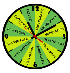 healthy food concept with clock vector image