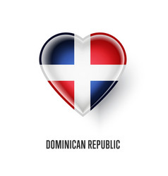 heart symbol with dominican republic flag vector image