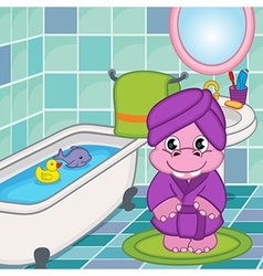 hippo girl in bathroom vector image