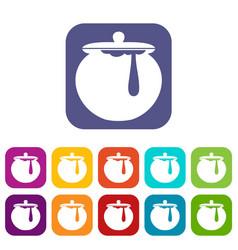 Honey pot icons set vector