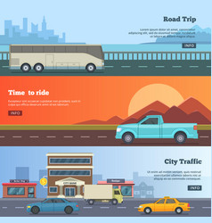 horizontal banners with different cars road trip vector image