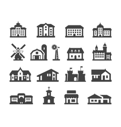 house icons set collection elements hotel real vector image