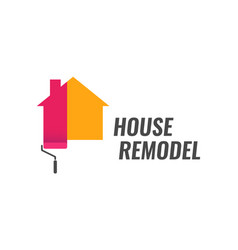 house remodel - logo with dyeing house and vector image