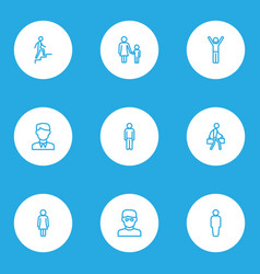 Human outline icons set collection of female vector