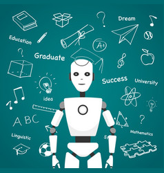 intelligent robot with educational icons design vector image