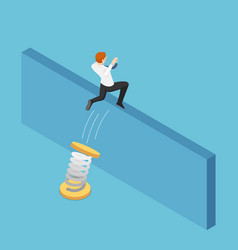 isometric businessman use spring to jumping over vector image