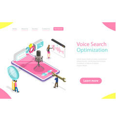 Isometric flat landing page template vector