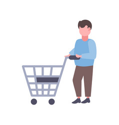 man holding trolley cart buying products big vector image