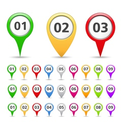 Map markers with numbers vector image